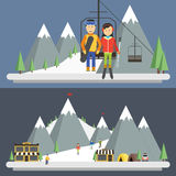 Station de sports d'hiver en montagnes, horaire d'hiver illustration stock