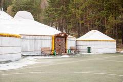 Station de sports d'hiver Forest Tale près d'Almaty, Kazakhstan Photos stock