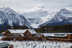 Station de sports d'hiver de Lake Louise, Colombie-Britannique, Canada Photos stock