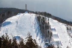 Station de sports d'hiver de montagne et Image stock