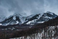 Station de sports d'hiver olympique, Krasnaya Polyana, Sotchi, Russie Photographie stock libre de droits