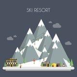 Station de sports d'hiver Paysages de montagne Vecteur plat illustration de vecteur