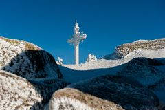 Station de sports d'hiver Sheregesh, secteur de Tashtagol, région de Kemerovo, Russie Image libre de droits
