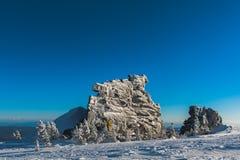 Station de sports d'hiver Sheregesh, secteur de Tashtagol, région de Kemerovo, Russie Images stock