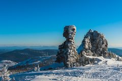 Station de sports d'hiver Sheregesh, secteur de Tashtagol, région de Kemerovo, Russie Photo libre de droits