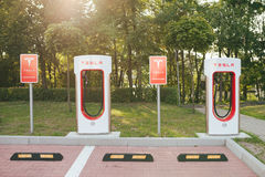Station de surchauffeur de Tesla Images libres de droits