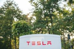 Station de surchauffeur de Tesla Photographie stock