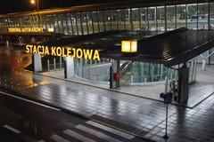 Station de train à l'aéroport international Chopin à Varsovie Photographie stock