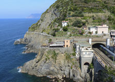 Station de train au riomaggiore Photos stock