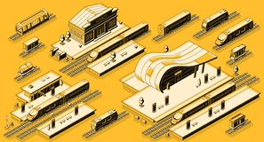 Station de train avec l'ensemble isométrique locomotif de vecteur illustration de vecteur