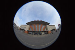 Station de train dans Fisheye Photographie stock libre de droits