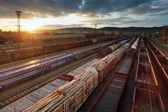 Station de train de cargaison avec des trains Photo libre de droits