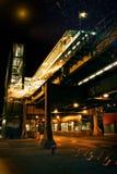 Station de train de Chicago la nuit Image stock