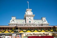 Station de train de la rue principale du monde de Disney Images libres de droits