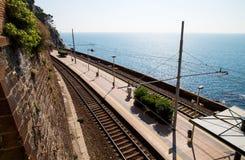 Station de train de Riomaggiore Photographie stock