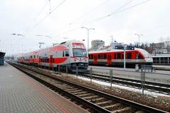 Station de train en capitale de ville de la Lithuanie Vilnius Images stock