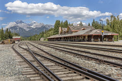 Station de train historique de Banff - parc national de Banff, Canada photos stock
