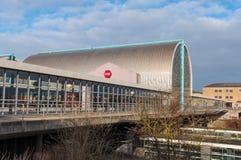 Station de train de Hoje Taastrup pendant l'hiver Photographie stock libre de droits