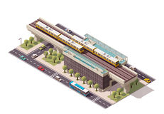 Station de train isométrique de ville de vecteur