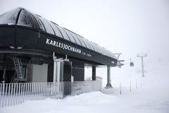 Station de transport de funiculaire de Karlesjochbahn au Tyrol, Autriche Image stock