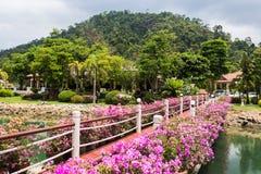 Station de vacances de Klong Prao Cottages sur la baie dans un jardin tropical Photographie stock libre de droits