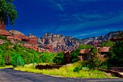 Station de vacances Sedona d'enchantement de ciel bleu Photographie stock