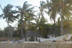 Station de vacances sur les rivages de l'Océan Indien, plage de Diani, Mombasa, Afrique images libres de droits