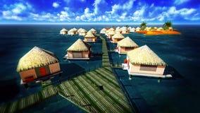 Station de vacances tropicale au coucher du soleil Photographie stock