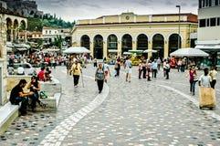 station för athens greece metromonastiraki Arkivfoton