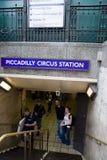 station för cirkusingång piccadilly Fotografering för Bildbyråer