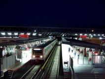 station för greece metronatt Fotografering för Bildbyråer