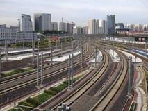 station för hastighet beijing för hög stång järnväg Arkivbild