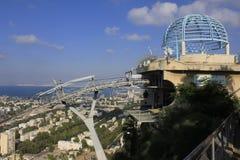 Station för kabelbil på Haifa arkivbilder