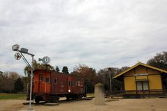 Station för konung City Train och sydligt Stillahavs- drev på historia av bevattningmuseet, konung City, Kalifornien Arkivbild