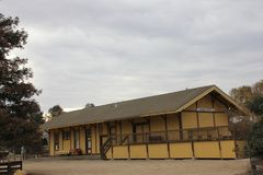 Station för konung City Train på historia av bevattningmuseet, konung City, Kalifornien Arkivbild