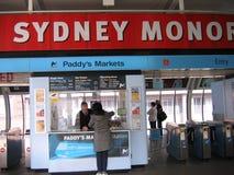 Station för marknader för irländare` s, Sydney Monorail Royaltyfria Foton