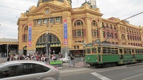 Station för Melbourne Flindersgata stock video
