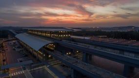 Station för MRT-MASSforstransport i Kwasa Damansara royaltyfri fotografi