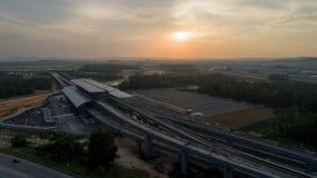 Station för MRT-MASSforstransport i Kwasa Damansara Fotografering för Bildbyråer