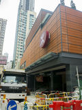 Station för MTR Sai Ying Pun under konstruktion - förlängningen av ölinjen till det västra området, Hong Kong Royaltyfri Bild
