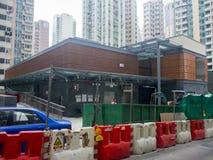 Station för MTR Sai Ying Pun under konstruktion - förlängningen av ölinjen till det västra området, Hong Kong Arkivbilder