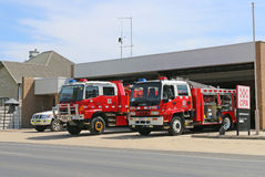 Station för myndighet för Maryborough landsbrand (CFA) med medel som är klara för handling på en sammanlagd brandförbuddag Arkivfoton