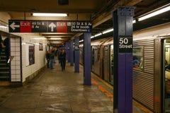 Station för New York City 50th gatagångtunnel Arkivbild