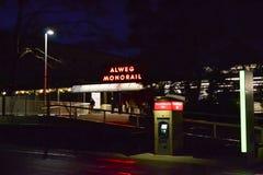 Station för Seattle mittenskenig järnväg på natten, Seattle, Washington Royaltyfri Fotografi