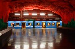 Station för Solna Centrumtunnelbana Royaltyfri Fotografi
