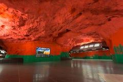 Station för Stockholm Solna Centrumtunnelbana Arkivfoto