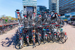 Station forecourt of the main station in The Hague, Netherlands. The Hague, Netherlands - April 21, 2016: forecourt of the main station with unidentified people Royalty Free Stock Photo