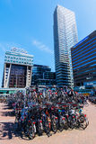 Station forecourt of the main station in The Hague, Netherlands. The Hague, Netherlands - April 21, 2016: forecourt of the main station with unidentified people Stock Image