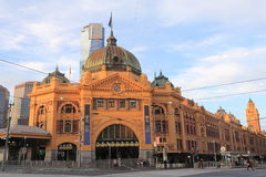 Station för drev för Melbourne Flindersgata Australien Arkivbild