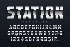 Station futuristic display typeface design, alphabet, sport vector illustration